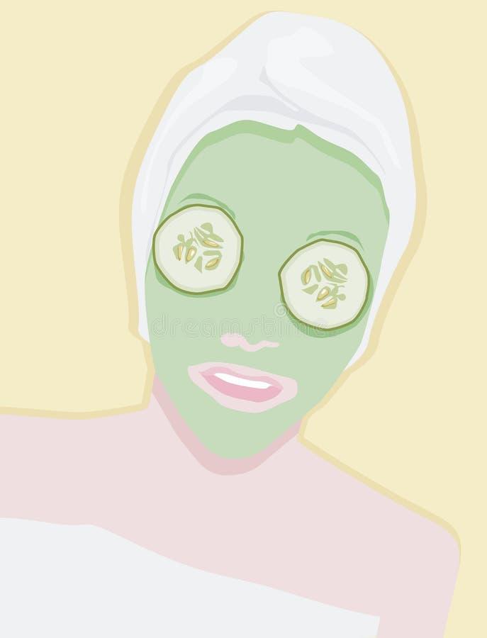 De enge behandeling van het schoonheidsmasker stock illustratie
