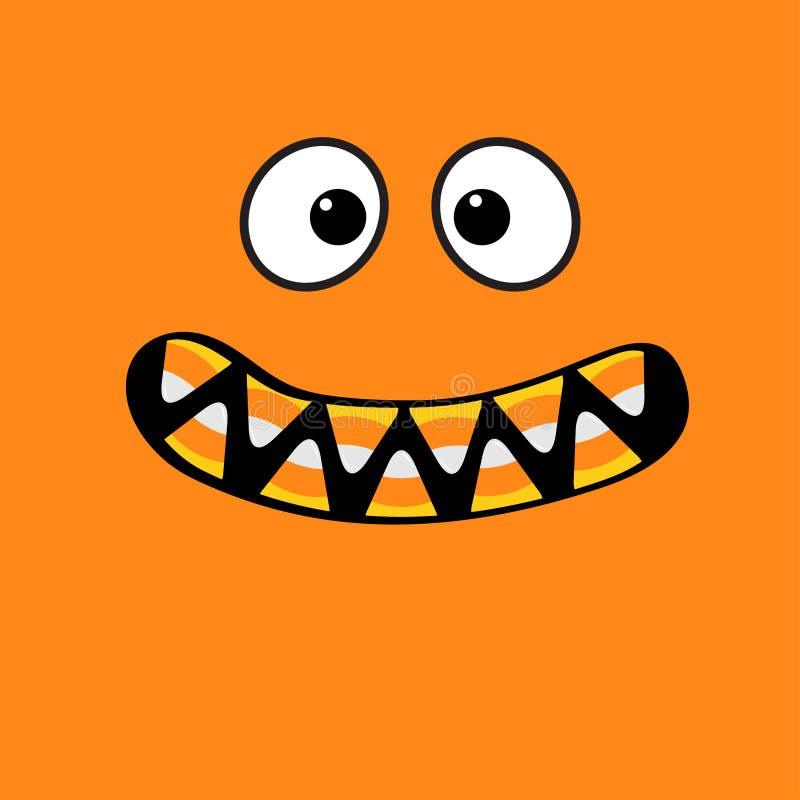 De enge emoties van het monstergezicht De hoektand van de vampiertand royalty-vrije illustratie
