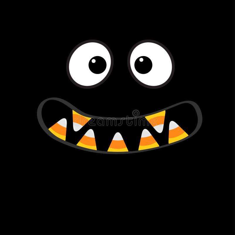 De enge emoties van het monstergezicht De hoektand van de vampiertand Grote ogen, mond met suikergoedgraan Gelukkig Halloween De  stock illustratie