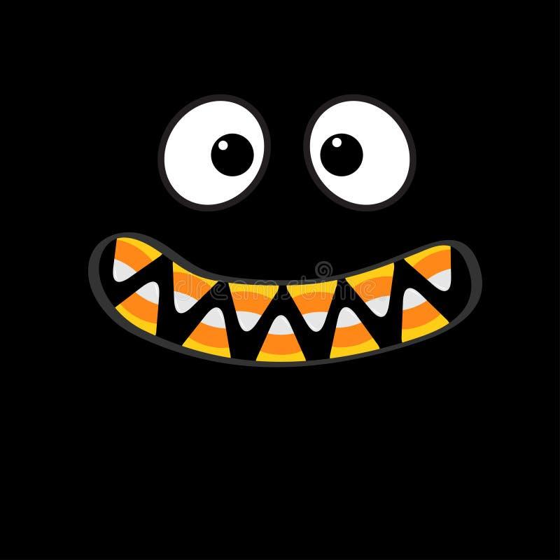 De enge emoties van het monstergezicht De hoektand van de vampiertand Grote ogen, mond met de tanden van het suikergoedgraan vector illustratie