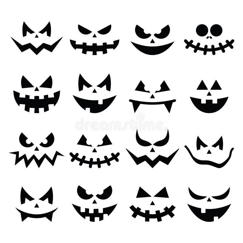 De enge Halloween-geplaatste pictogrammen van pompoengezichten vector illustratie
