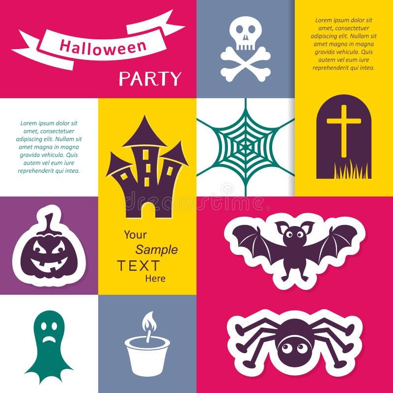 De de enge Halloween-kaart of vlieger van de partijuitnodiging stock illustratie