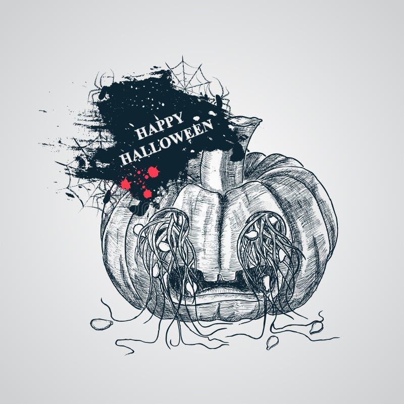 De enge pompoen van Halloween stock illustratie