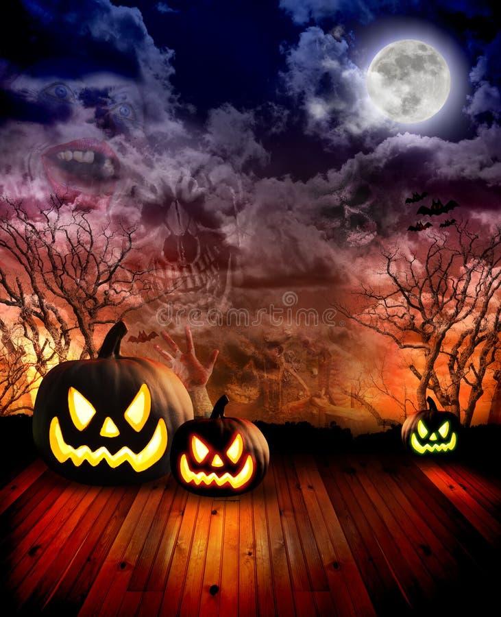 De enge Pompoenen van Halloween bij Nacht royalty-vrije illustratie