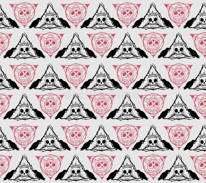 De enge vector van het schedels gotische patroon royalty-vrije illustratie