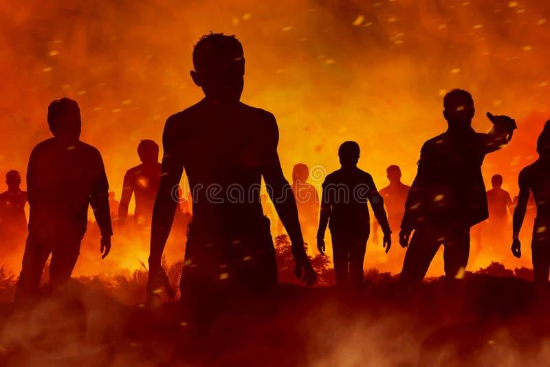 De enge zombieën silhouetteren royalty-vrije stock afbeelding