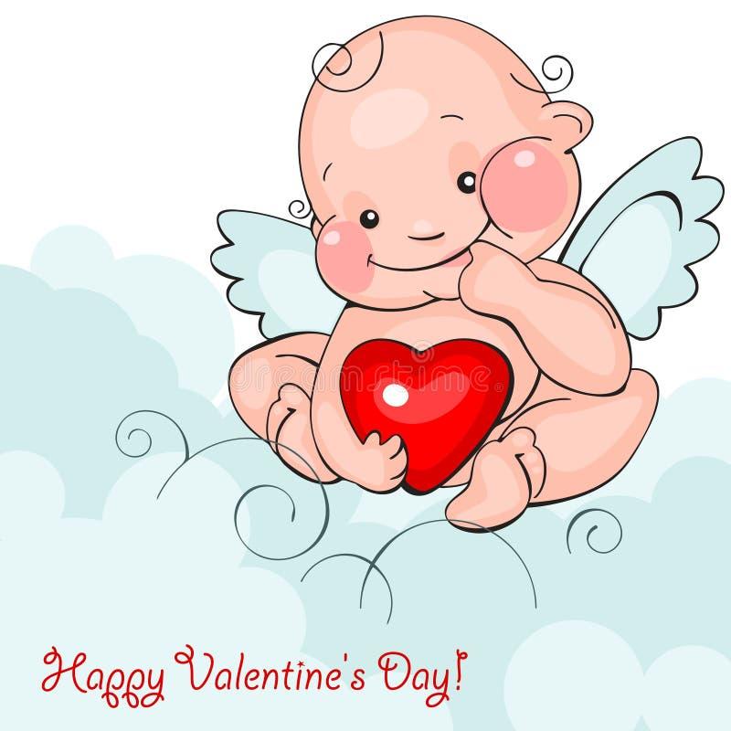 De engel van de baby met hart vector illustratie