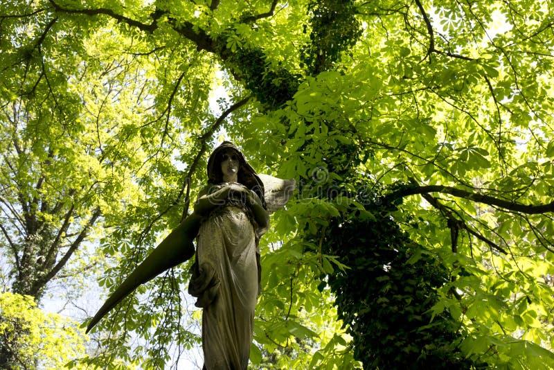 De Engel van de de lentegeheimzinnigheid oude Begraafplaats van Praag, Tsjechische Republiek royalty-vrije stock foto