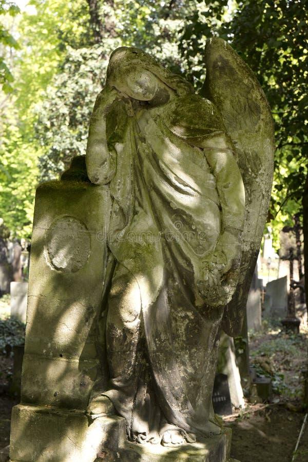 De Engel van de de lentegeheimzinnigheid oude Begraafplaats van Praag, Tsjechische Republiek stock foto