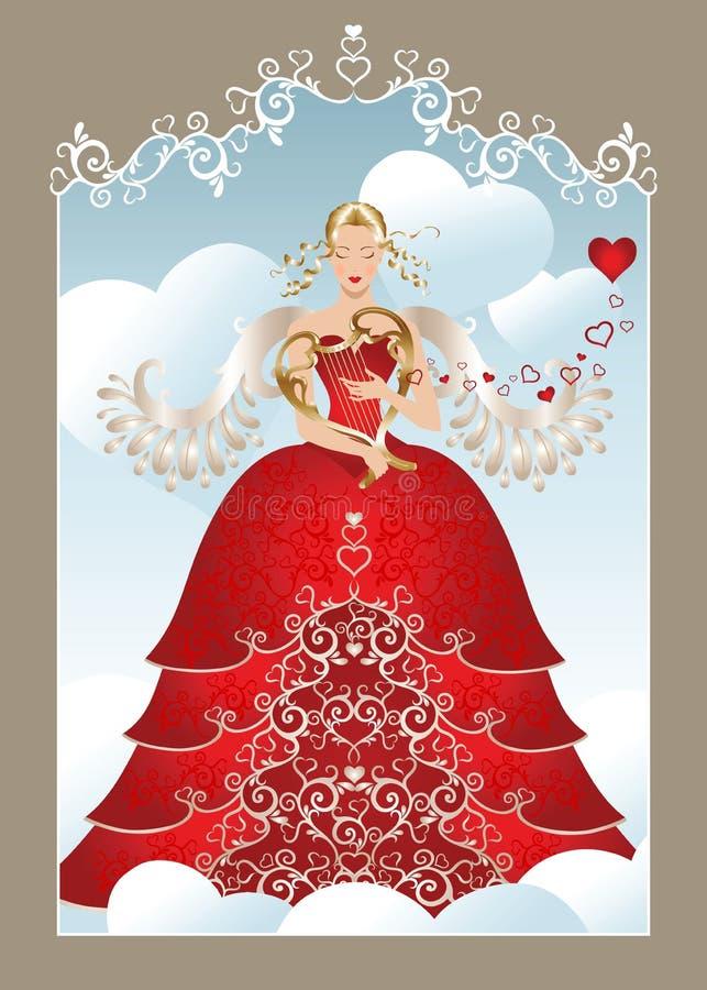 De engel van de valentijnskaart royalty-vrije illustratie