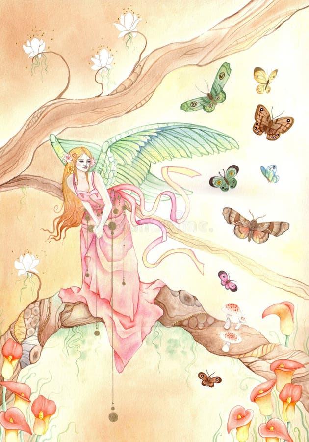 De engel van de vlinder royalty-vrije illustratie