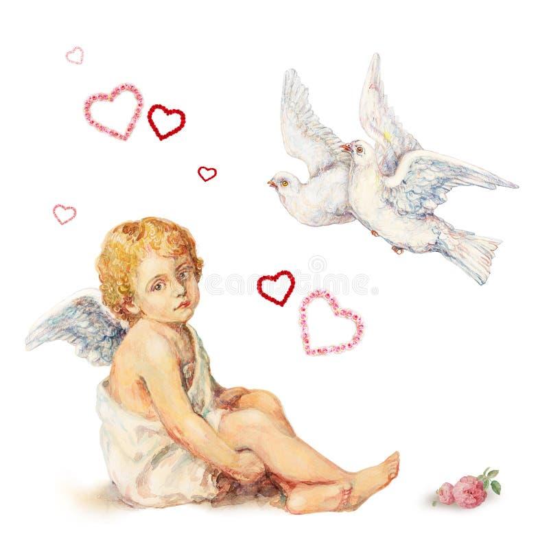De engel van de zitting, duiven en rozenharten stock illustratie