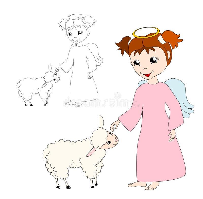 De engel van het beeldverhaal met lam royalty-vrije illustratie