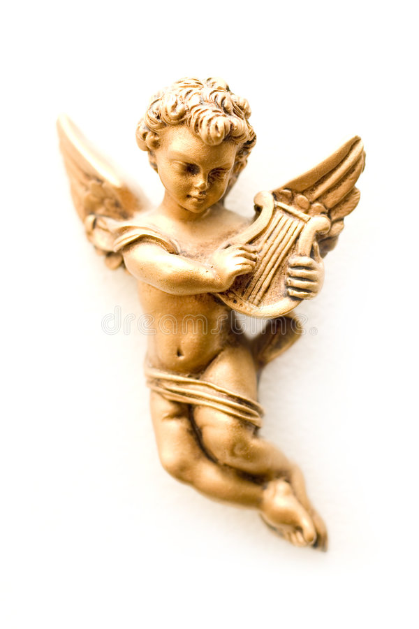 De engel van het brons met harp stock foto's