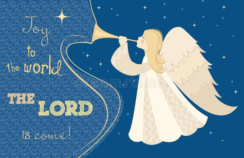 De engel van Kerstmis met pijp Vector royalty-vrije illustratie