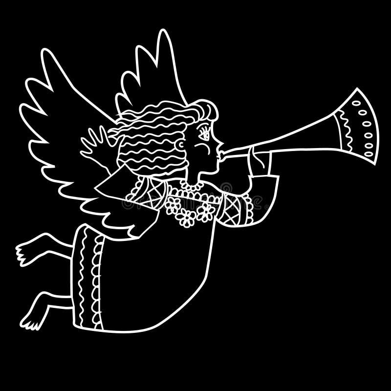 De engel van Kerstmis met pijp Vector illustratie vector illustratie