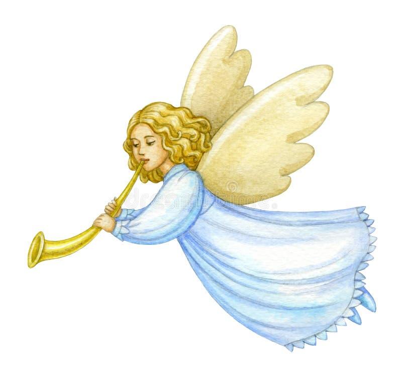 De engel van waterverfkerstmis stock illustratie