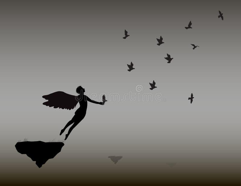 De engel vliegt met de zwart-witte weg troep van duiven, vlieg, op hemel, het leven vector illustratie