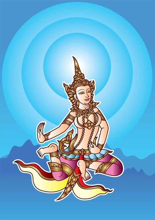 De Engelendans van Thailand op hemel met blauwe straal en berg vector illustratie