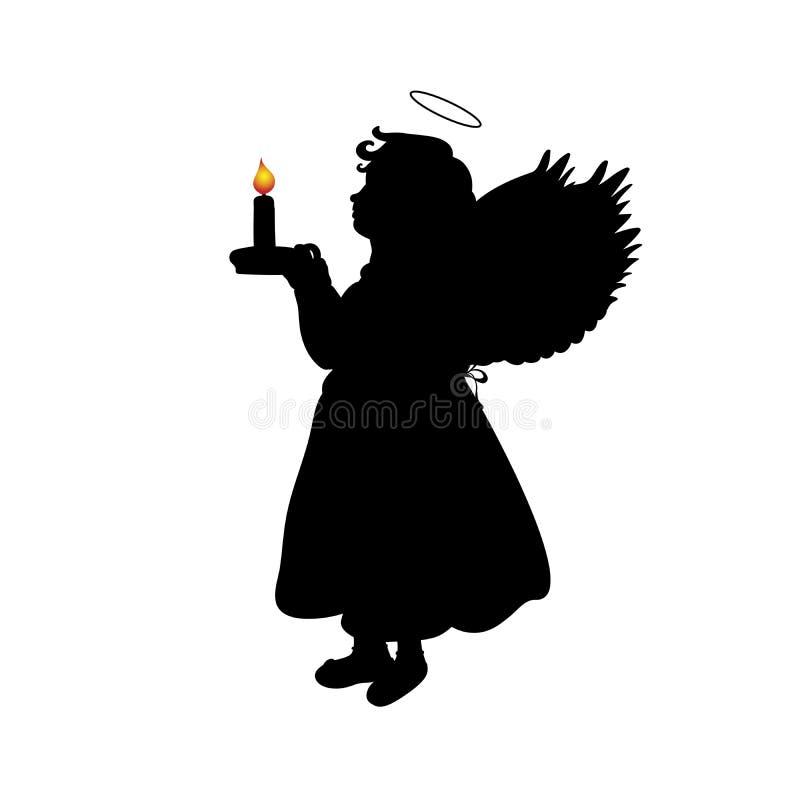 De engelenmeisje van silhouetkerstmis met kaars royalty-vrije illustratie