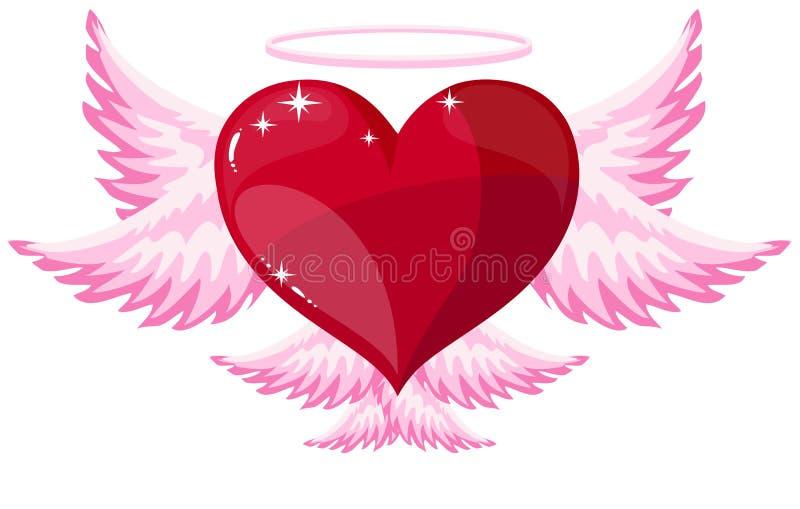 De engelenpictogram van het liefdehart stock illustratie