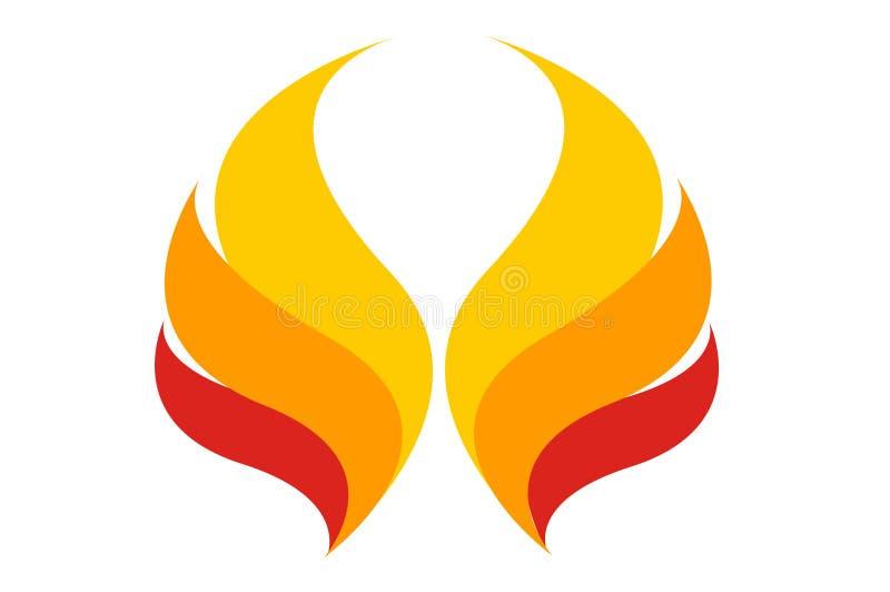 De engelenvleugel van brandlogo element shape stock foto's