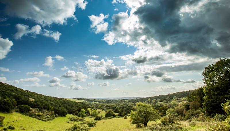 De Engelse brede hoek van het plattelandsuitzicht stock foto