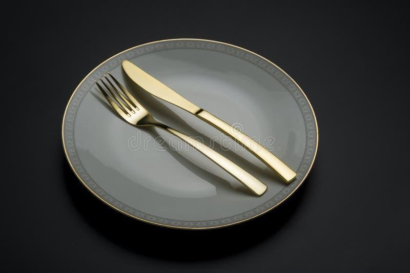 De enige fijne plaat van China met mes en vork stock fotografie