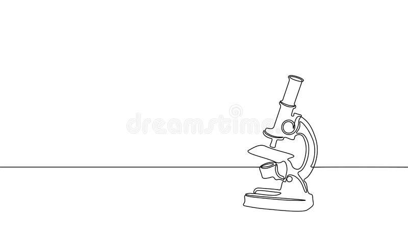 De enige ononderbroken microscoop van het de wetenschapsonderzoek van de lijnkunst Biologie van de micro- bedrijfs technologiegen stock illustratie