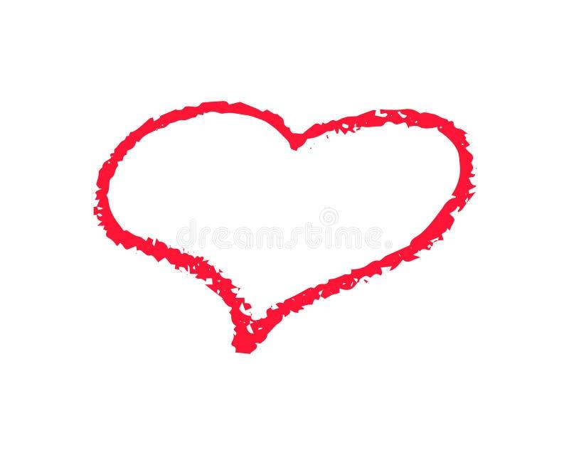 De enige rode vectorillustratie van het hartoverzicht op witte achtergrond St Valentine Day clipart Het hartkader van de krijttex vector illustratie