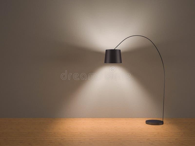De enige zwarte staande lamp schakelt in ruimte in grijs behang