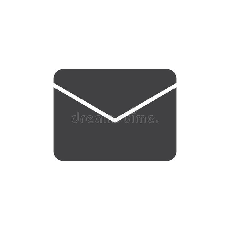 De envelop, de vector van het berichtpictogram, vulde vlak teken, stevig die pictogram op wit wordt geïsoleerd vector illustratie