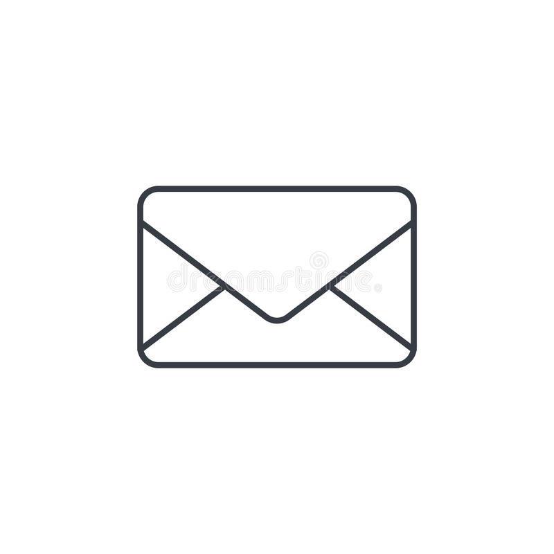 De envelop, e-mailbrief, post dun lijnpictogram Lineair vectorsymbool stock illustratie