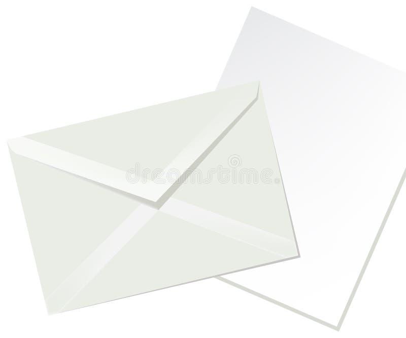 De envelop van de brief en Witboek stock illustratie