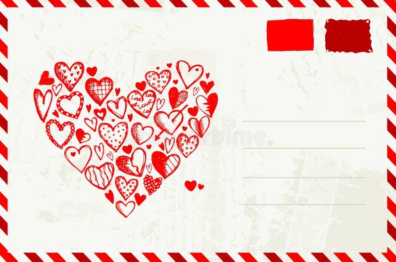 De envelop van de valentijnskaart met rode hartschets royalty-vrije illustratie
