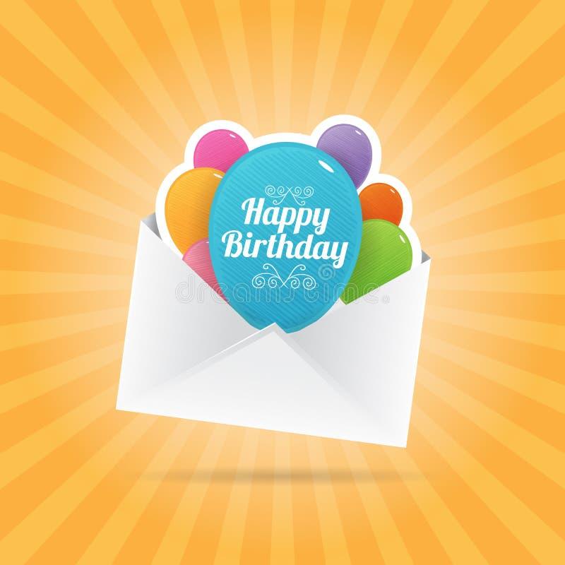 De Envelop van de verjaardagsballon royalty-vrije illustratie