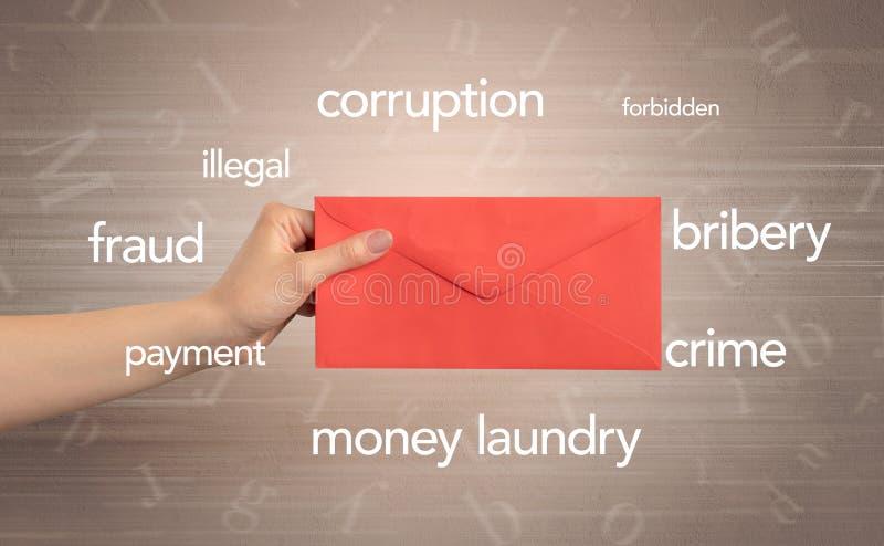 De envelop van de handholding met rond woorden stock fotografie