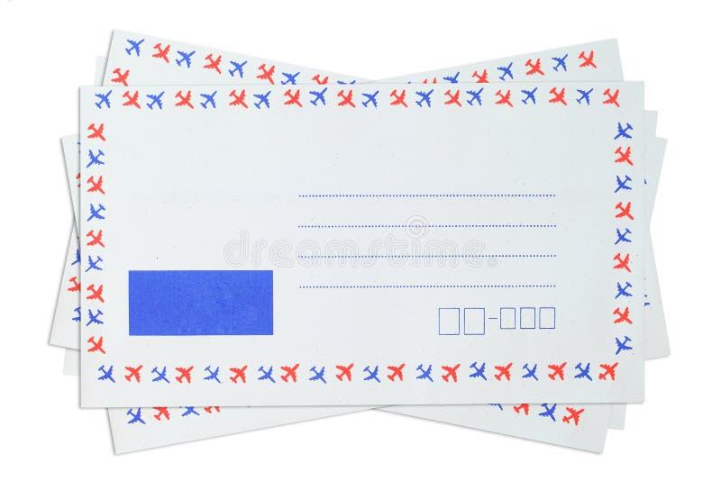 de envelop van de luchtpost retro ontwerp Vectordieillustratie op witte backgro geïsoleerd royalty-vrije stock afbeeldingen