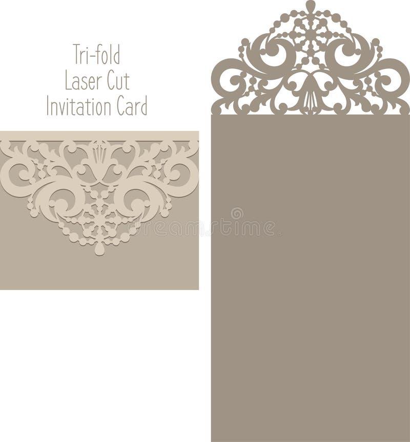 De envelopmalplaatje van de laserbesnoeiing voor de kaart van het uitnodigingshuwelijk royalty-vrije stock afbeeldingen