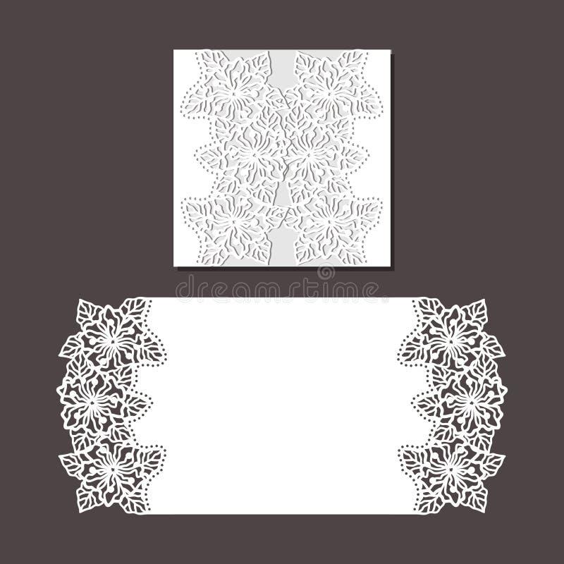 De envelopmalplaatje van de laserbesnoeiing voor de kaart van het uitnodigingshuwelijk royalty-vrije stock fotografie