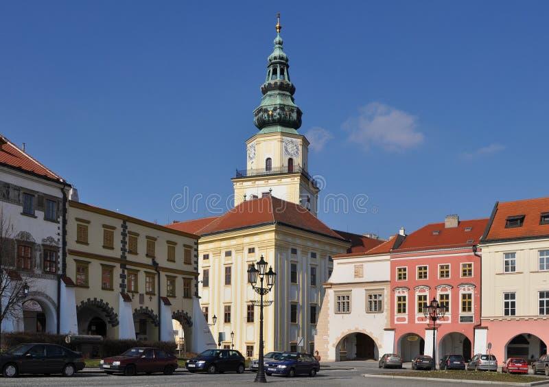 De erfenisplaats van Unesco van Kromeriz, stadsvierkant, Tsjechisch aangaande stock foto's