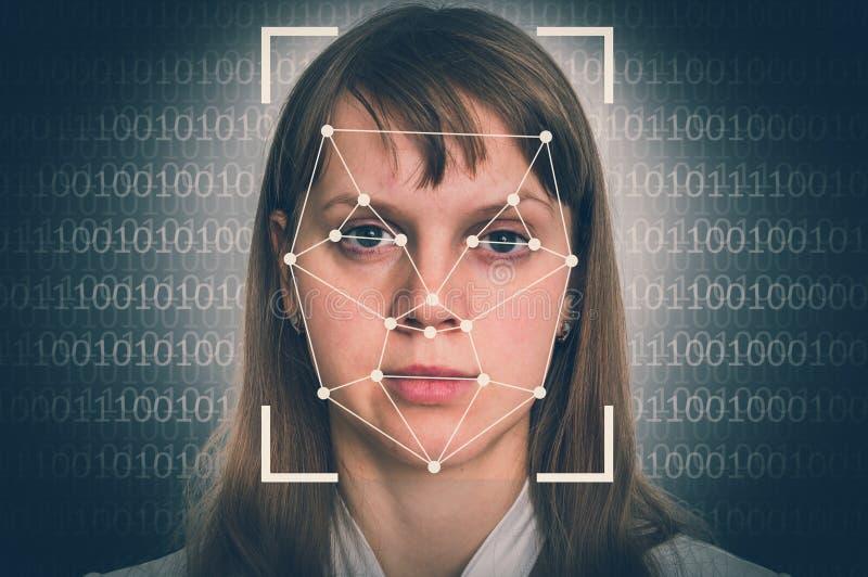 De erkenning van het vrouwengezicht - biometrisch controleconcept stock foto's