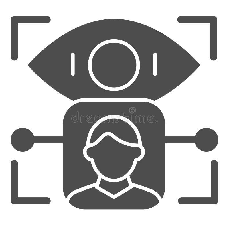 De erkennings stevig pictogram van de persoonsretina De identificatie vectordieillustratie van het gebruikersoog op wit wordt geï vector illustratie