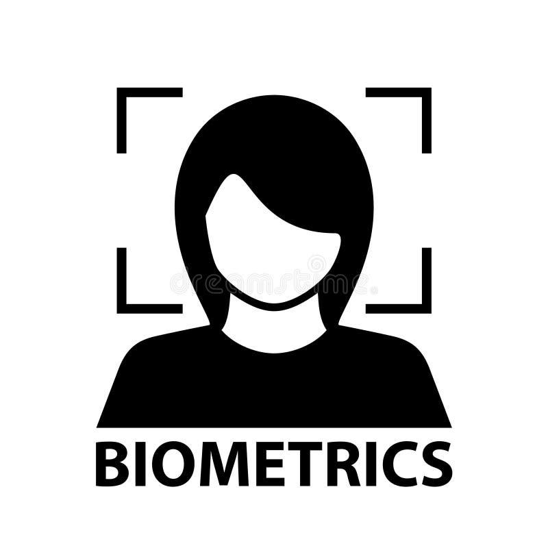 De erkennings zwart symbool van het biometriegezicht stock illustratie