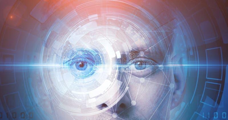 De erkenningstechnologie van het mensengezicht royalty-vrije stock afbeeldingen