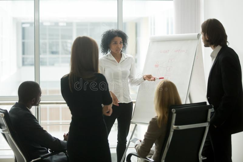 De ernstige Afrikaanse vrouwelijke leider geeft presentatie bij verkoopteam m royalty-vrije stock afbeeldingen