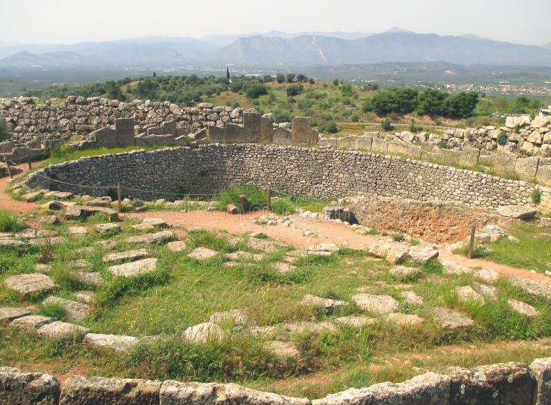 De ernstige cirkel van Mycenae, Archeologische plaats in het schiereiland van de Peloponnesus stock afbeeldingen