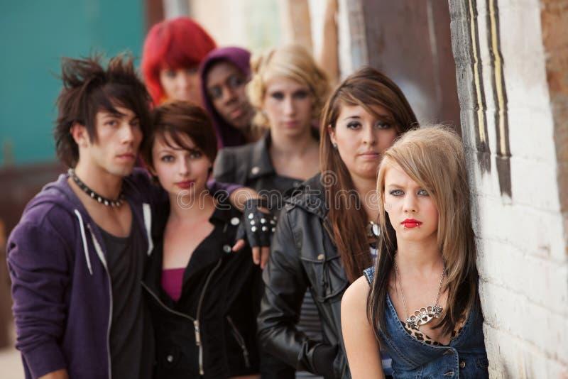 De ernstige PunkTroep van de Tiener stock foto's