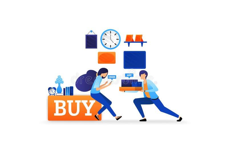 De ervaring om goederen online met snelle levering te kopen koopt nu en winkelt net omhoog vector de illustratieconcept van de e- stock illustratie