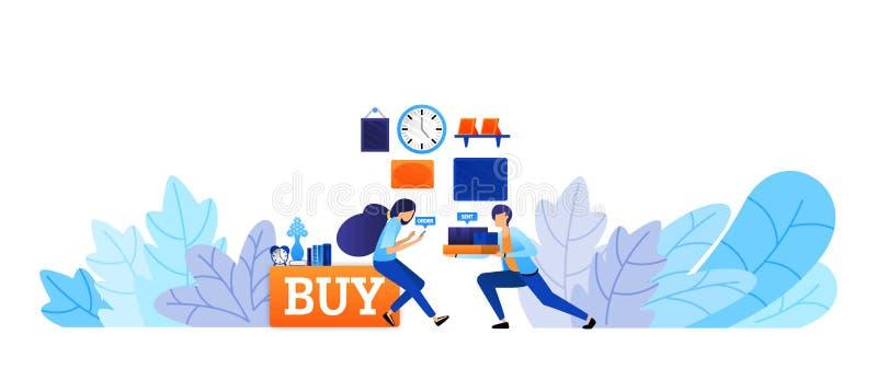 De ervaring om goederen online met snelle levering te kopen koopt nu en winkelt net omhoog vector de illustratieconcept van de e- royalty-vrije illustratie